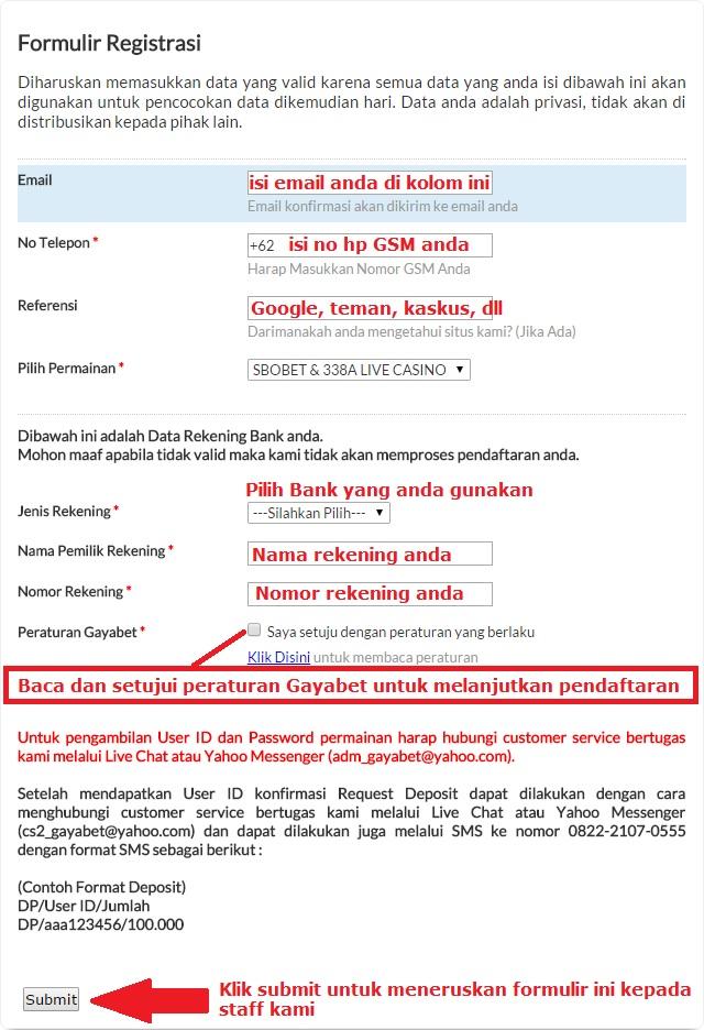 form pendaftaran gayabet.net