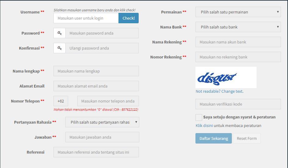 Formulir Pendaftaran Judi Casino Online Sbobet